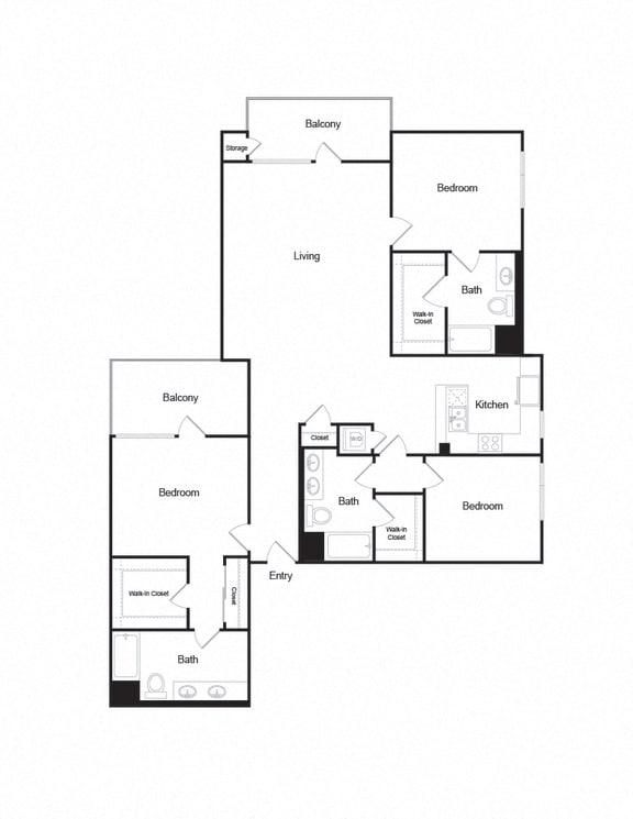 Floor Plan  C1_3b3b_1864sf apartment unit