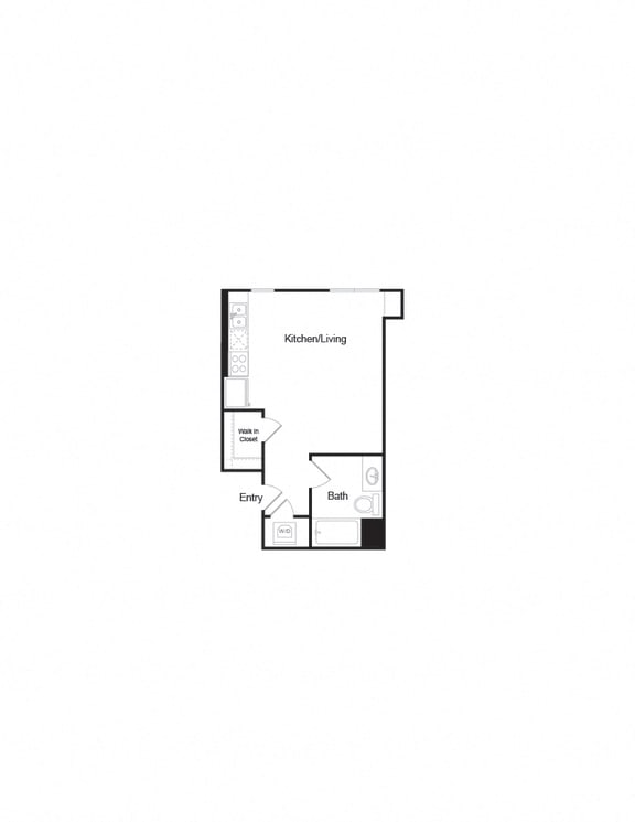 Floor Plan  S1_Studio1b_463sf layout for units in brentwood