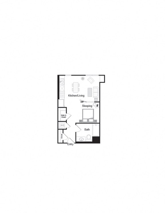 Floor Plan  S2_Studio1b_500sf layout for units in apartments building