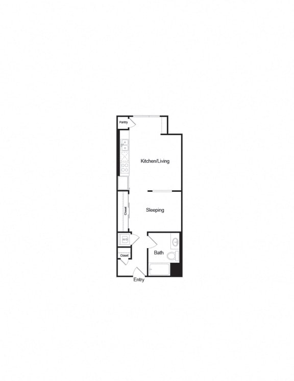 Floor Plan  S3_Studio1b_541sf layout for apartment units