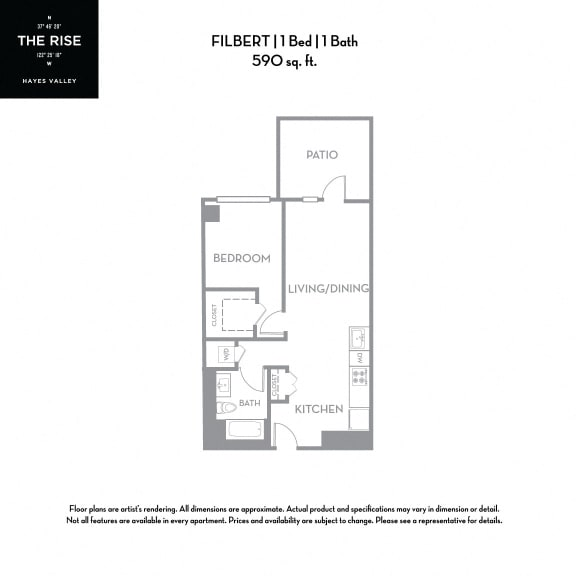 Floor Plan  The Rise Hayes Valley|Filbert|1x1