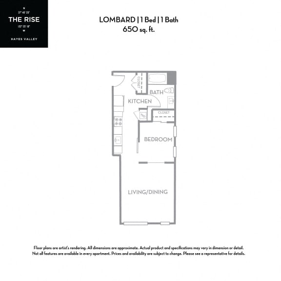 Floor Plan  The Rise Hayes Valley|Lombard|1x1