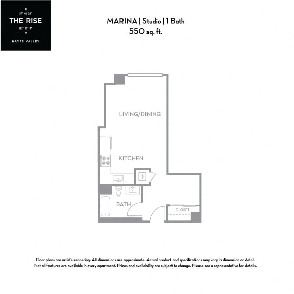 Floor Plan  The Rise Hayes Valley|Marina|Studio/1