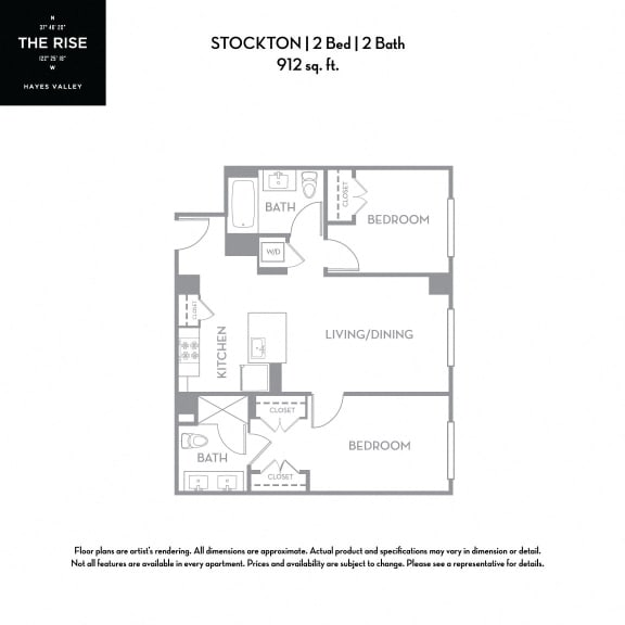 Floor Plan  The Rise Hayes Valley|Stockton|2x2