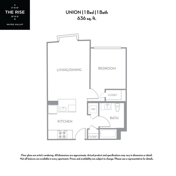 Floor Plan  The Rise Hayes Valley Union 1x1