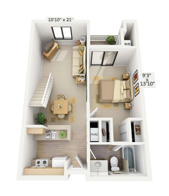 Floor Plan  Belmont 1x1 Bedroom Loft at Pine at 6th, California, 90802