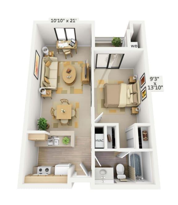 Floor Plan  Belmont 1x1 Floor Plan at Pine at 6th, Long Beach, 90802