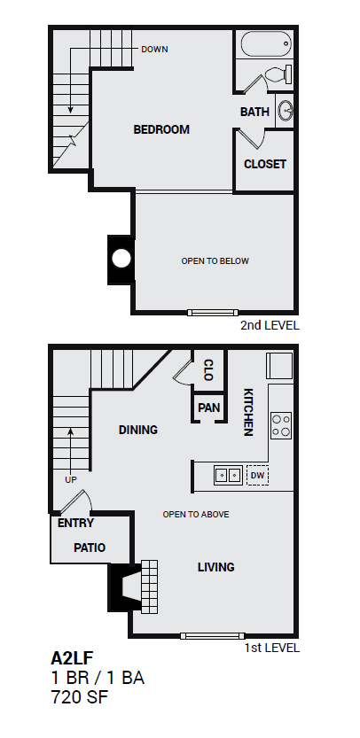 Floor Plan  2ALF Townbluff two level unit floor plan