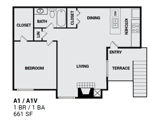 A1UTownbluff floor plan with one bedroom apartment