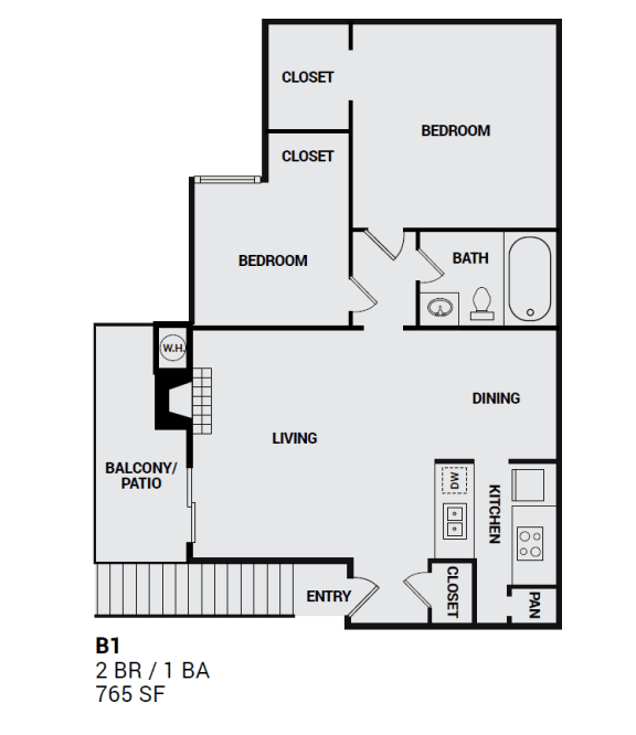 Floor Plan  B1P Independence floor plan view for apartment in plano