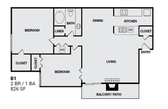 Floor Plan  B1 Townbluff layout for apartment residents in plano texas