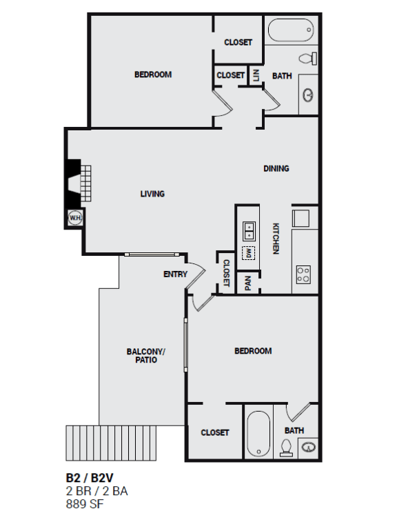 B2V Independence two bedroom floor plan layout