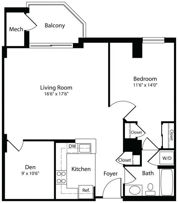 1Dxa one bedroom one bathroom floor plan at Aura Pentagon City apartment in Arlington VA