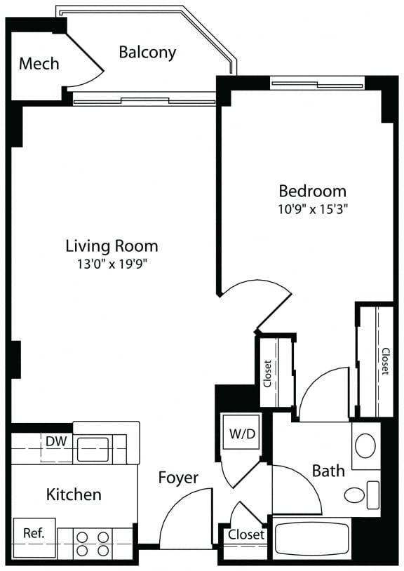 1x1c one bedroom one bathroom floor plan at Aura Pentagon City apartment in Arlington VA
