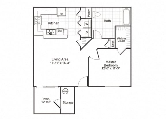 Floor Plan  A1 at Paradise Oaks apartments inAustin TX