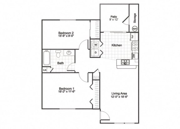 Floor Plan  B1 at Paradise Oaks apartments Austin TX