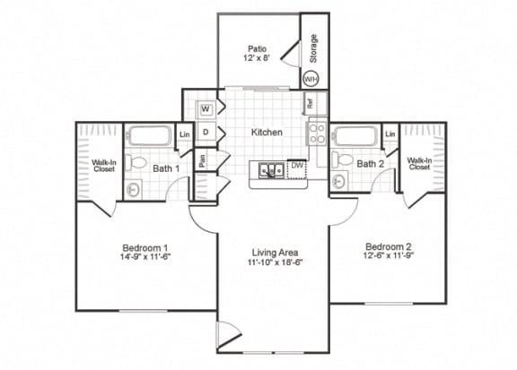 Floor Plan  B2 at Paradise Oaks Austin TX
