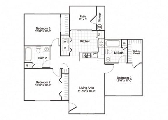 Floor Plan  C1 at Oaks Paradise apartments Austin TX