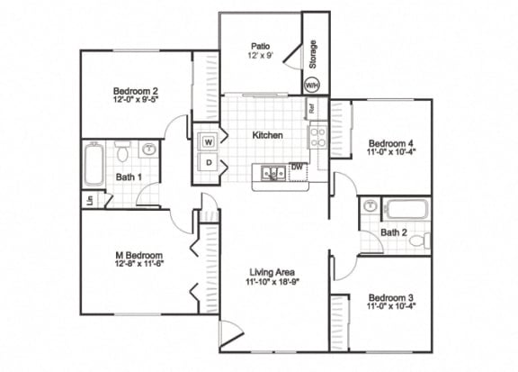 Floor Plan  D1 at Paradise Oaks apartments Austin TX