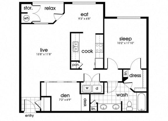 Floor Plan  A2 Floorplan for Parkway Senior Apartments in Pasadena TX