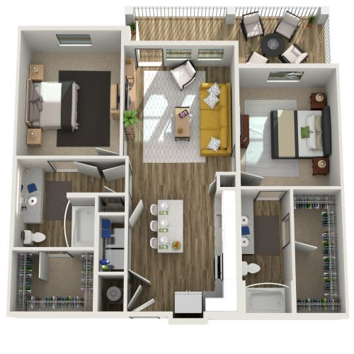 3D Two Bedroom Two Bath 1033-1151 sf at The Westhouse, Fort Worth, TX  76244