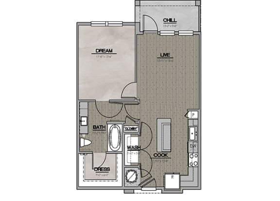2D One Bedroom|One Bath 752 sf at The Westhouse, Fort Worth, TX  76244