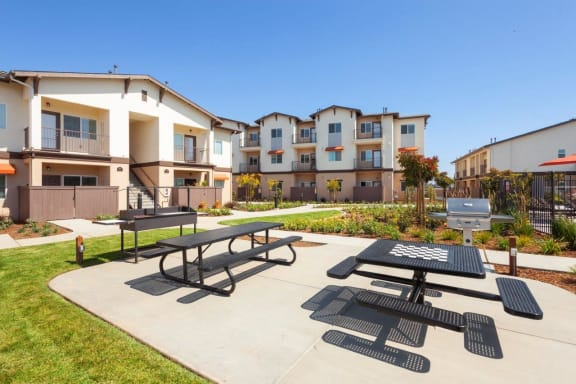 Outdoor sitting area, at Villa Del Sol, Santa Maria, CA 93458