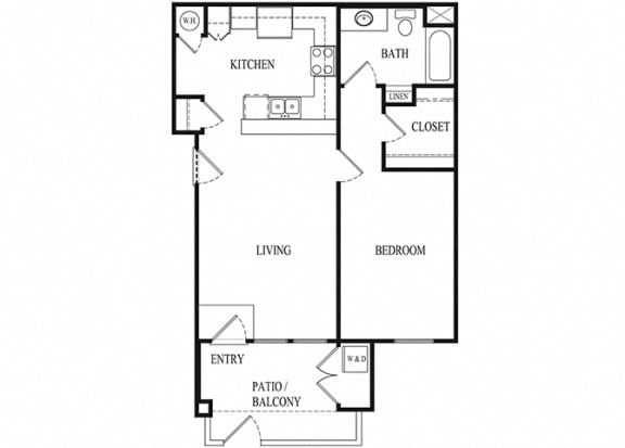 1 bed 1 bath Floorplan B, at Ralston Courtyard Apartments, Ventura, CA