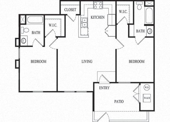 2 bed 2 bath Floorplan F, at Ralston Courtyard Apartments, Ventura