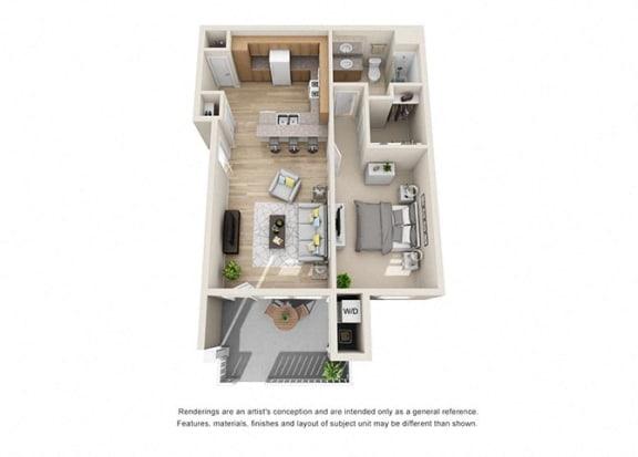 Floor Plan  1 bed 1 bath Floorplan B 3D, at Ralston Courtyard Apartments, California, 93003