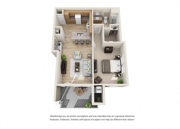 Floor Plan  1 bed 1 bath  Floorplan C 3D, at Ralston Courtyard Apartments, Ventura, CA 93003