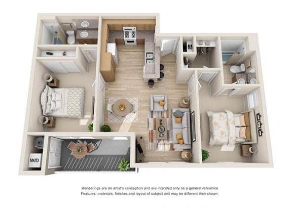 Floor Plan  2 bed 2 bath Floorplan D 3D, at Ralston Courtyard Apartments, Ventura, CA