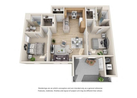 Floor Plan  2 bed 2 bath Floorplan F 3D, at Ralston Courtyard Apartments, Ventura California