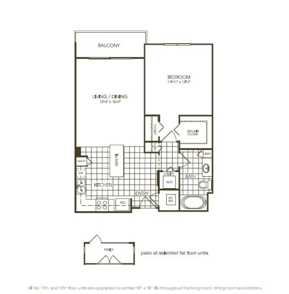 Floor Plan  One Bedroom Floorplan illustration