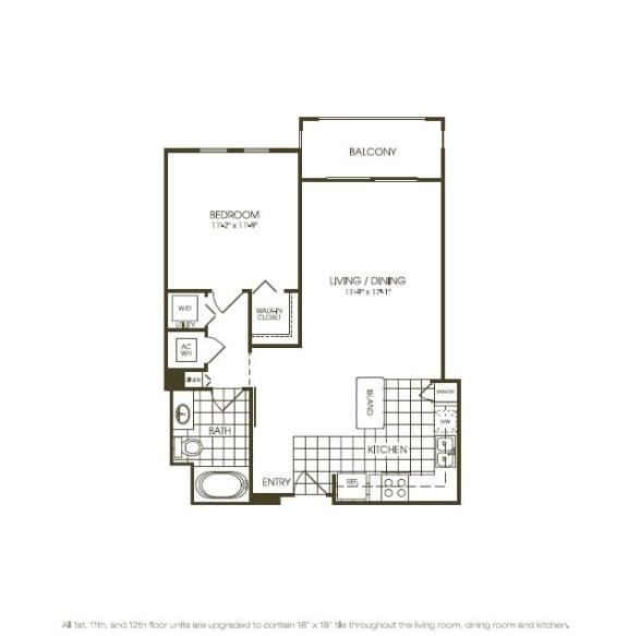 One Bedroom Floor plan view