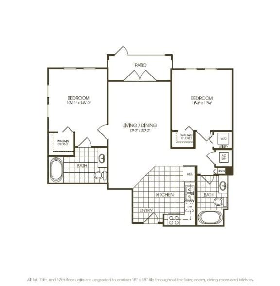 Two Bedroom Floor plan aerial