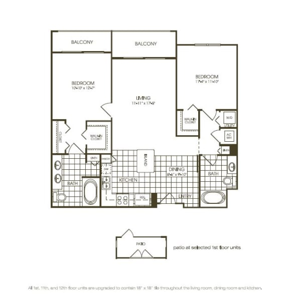 Floor Plan  Two Bedroom Floor plan with complete kitchen area in plantation florida