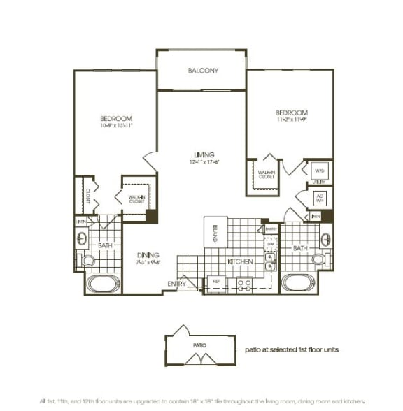 Two Bedroom Floor plan with large windows in plantation florida