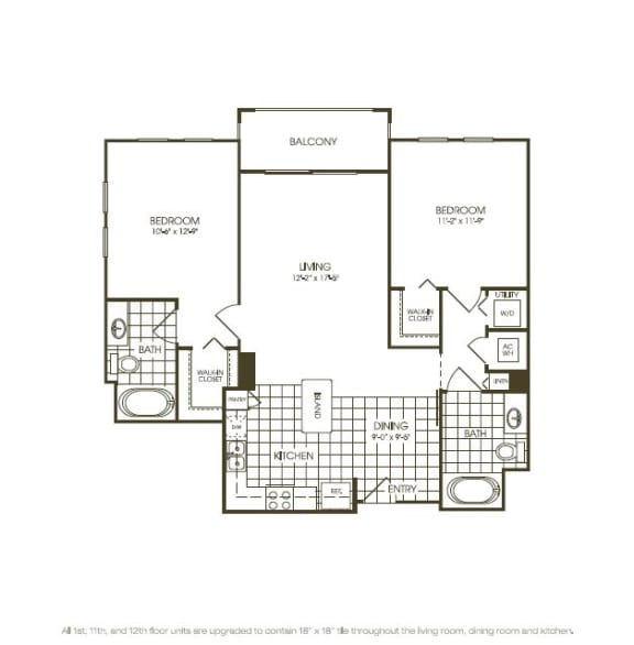 Floor Plan  Two Bedroom Floor plan top view