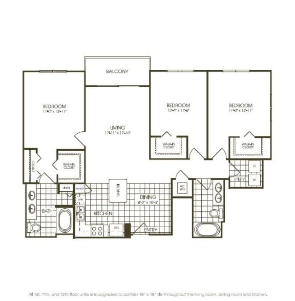 Three Bedroom Floorplan drawing