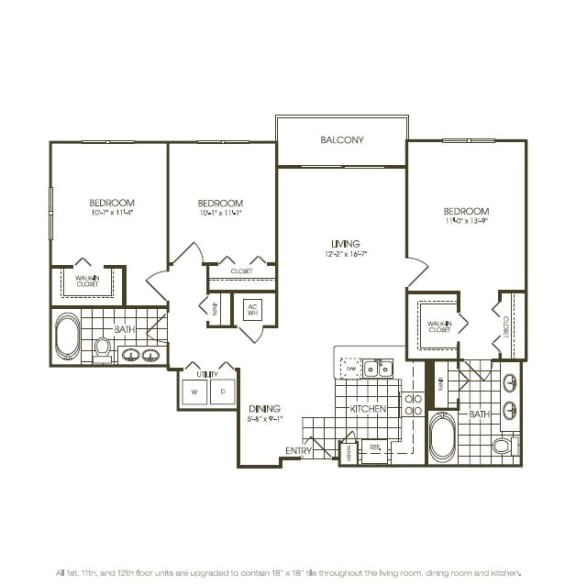 Three Bedroom Floorplan in plantation florida