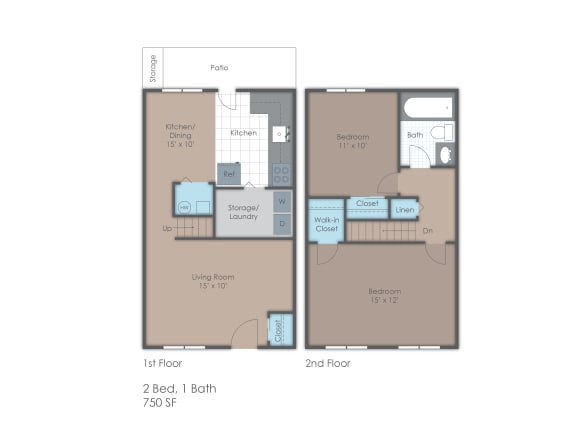 Townhome style floorplan; 750 SF
