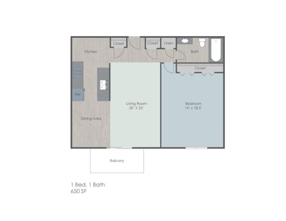 One bedroom one bath apartment floor plan layout