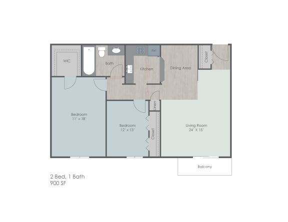 Two bedroom one bath apartment floor plan layout