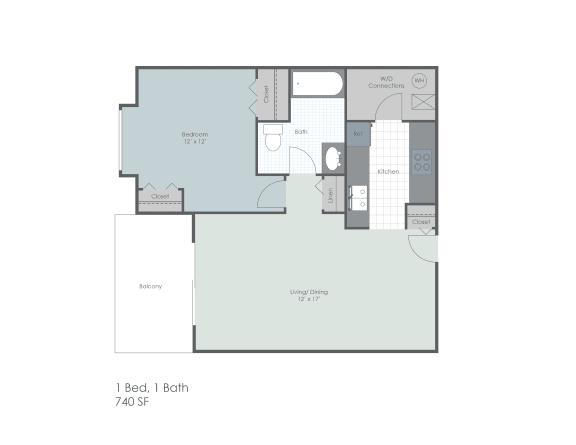 One bedroom, one bathroom 740 sq foot two dimensional floor plan.