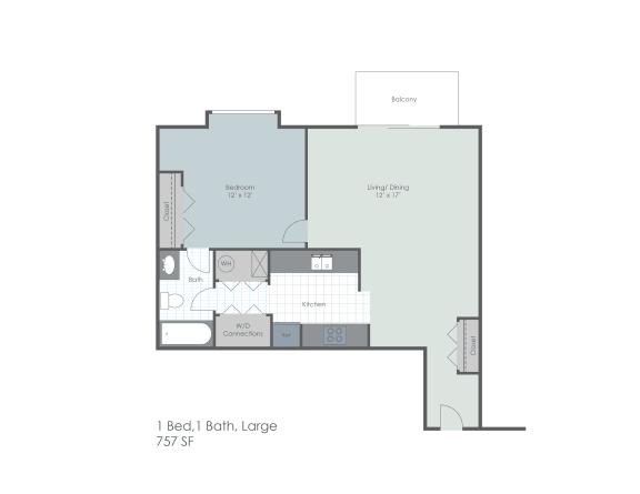 One bedroom, one bathroom 757 sq foot two dimensional floor plan.