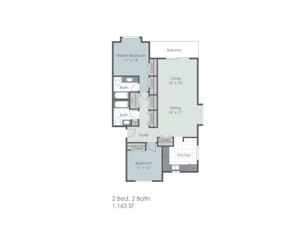 Two bedroom, two bathroom 1163 sq foot two dimensional floor plan.