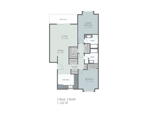 Two bedroom, two bathroom 1102 sq foot two dimensional floor plan.