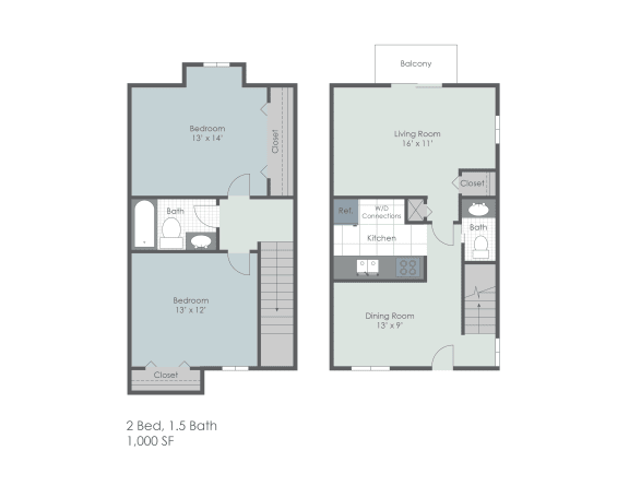 Two bedroom, one and a half town home two dimensional floor plan.