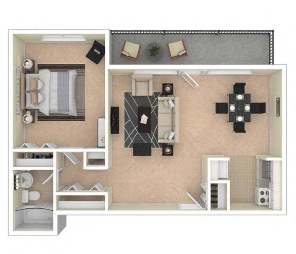 2112 New Hampshire Ave 1 Bed 740 sq ft floor plan